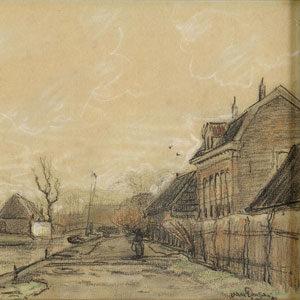 Kees van Dongen . Dorfstrasse im Vorfrühling (Studie) . 1893 . Schwarze und farbige Kreide, partiell weiß gehöht, auf grau-grünem Papier . 24 x 31,5 cm