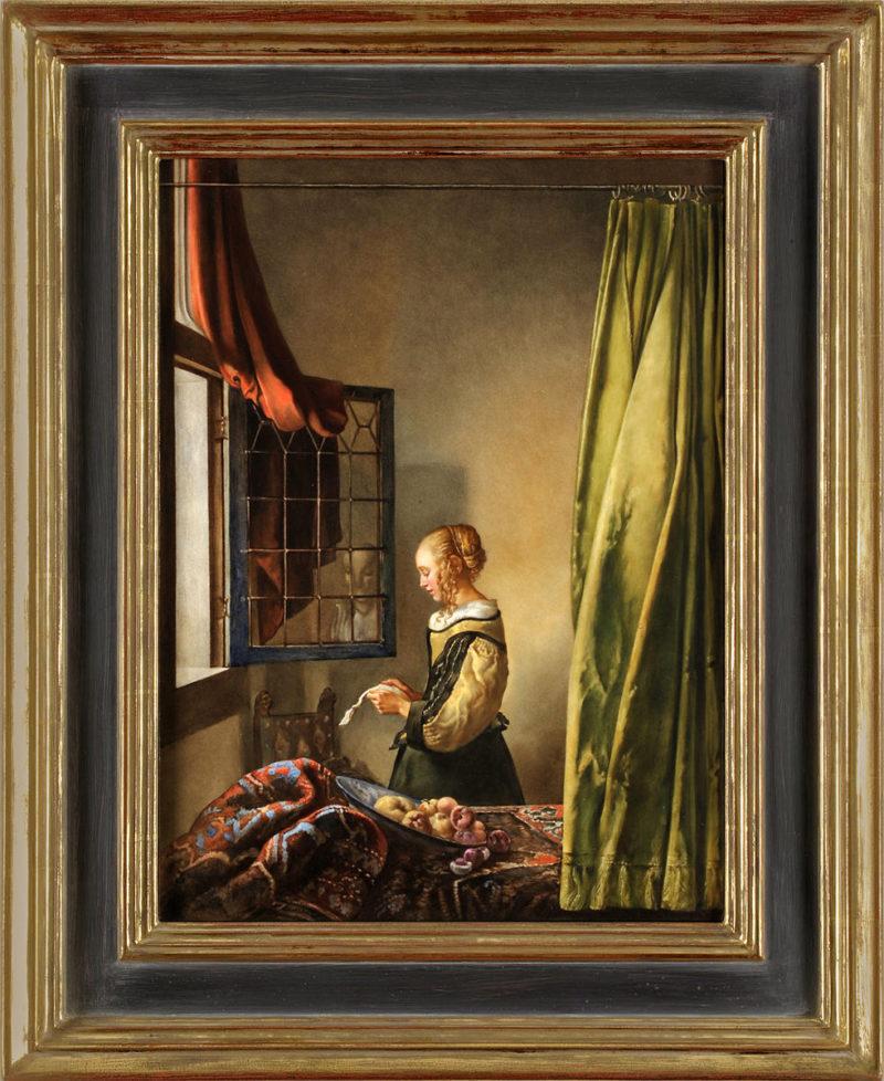 KPM . große KPM-Bildplatte . Briefleserin am offenen Fenster . nach Jan Vermeer . 41 x 31 cm