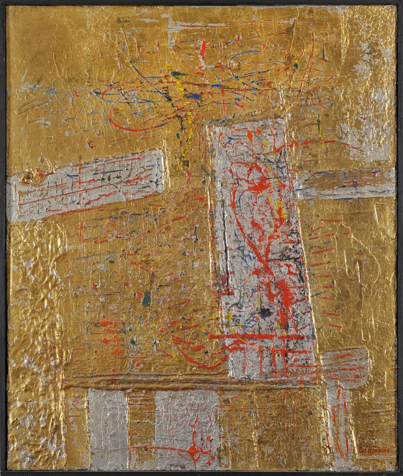 Lucas Suppin . Komposition in Gold . Öl /Holz . 86 x 73 cm