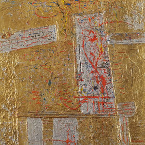 Lucas Suppin . Komposition in Gold . Öl /Holz . 86 x 73 cm