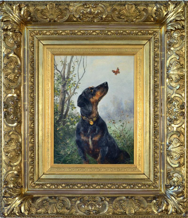 Ludwig Benno Fay . Dackel mit Schmetterling . Öl /Holz . 32 x 23,5 cm