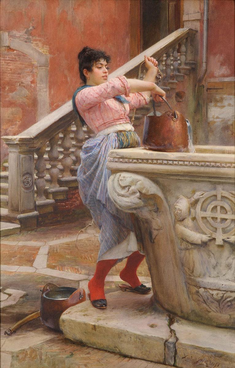Ludwig Johann Passini . Junge Venezianerin am Brunnen . 1891 . Aquarell . 87 x 57 cm