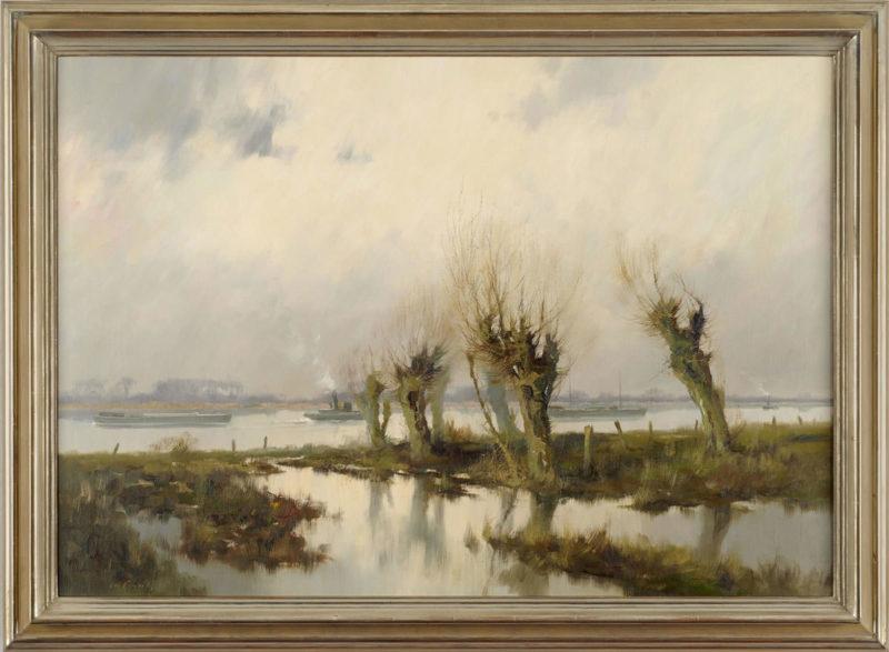 Manfred Schatz . Hochwasser am Rhein . Öl /Leinwand . 70 x 100 cm
