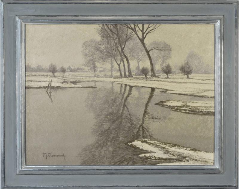 Max Clarenbach . Altwasser bei Wittlaer . Öl /Leinwand . 60 x 80 cm