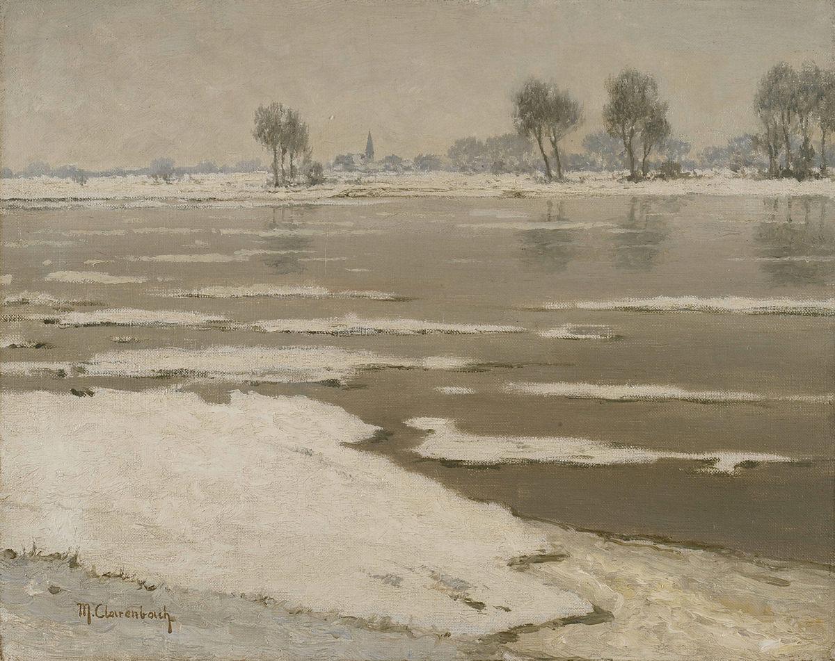 Max Clarenbach . Eistreiben am Rhein bei Wittlaer . Öl /Leinwand . 40 x 50 cm