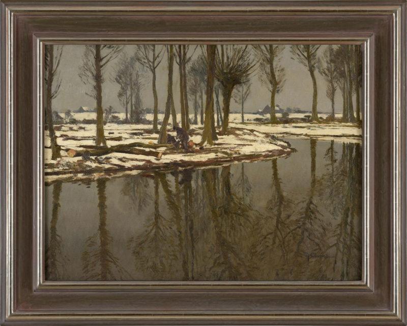 Max Clarenbach . Rheinarm im Winter . Öl /Leinwand . 60 x 80 cm