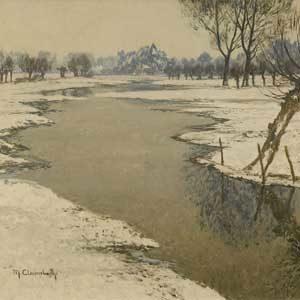 Max Clarenbach . Winter bei Wittlaer . Öl /Leinwand . 50 x 60 cm