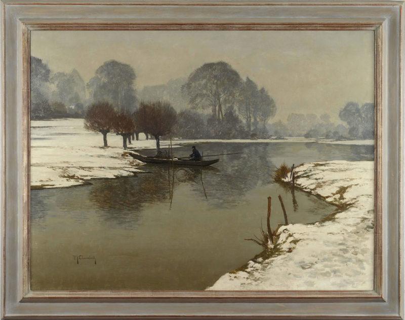 Max Clarenbach . Wintermorgen am Niederrhein . Öl /Leinwand . 95 x 127 cm
