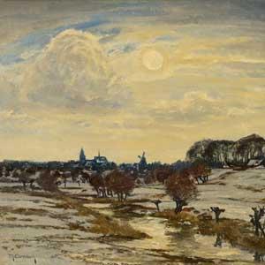 Max Clarenbach . Winter am Niederrhein . Öl /Leinwand . 60 x 80 cm