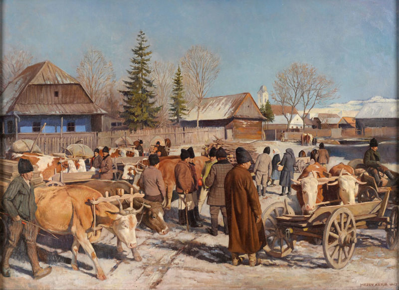 Mezey Artur . Treffen der Fuhrleute . 1942 . Öl /Leinwand . 74 x 100 cm