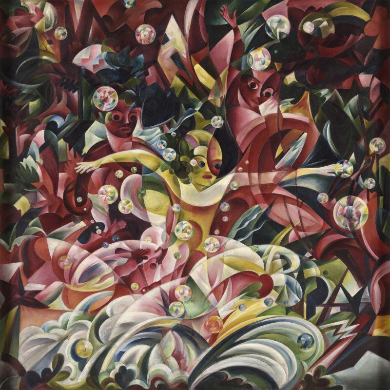Otto Rodewald . Badende Knaben . 1920 . Öl /Leinwand . 100 x 100 cm