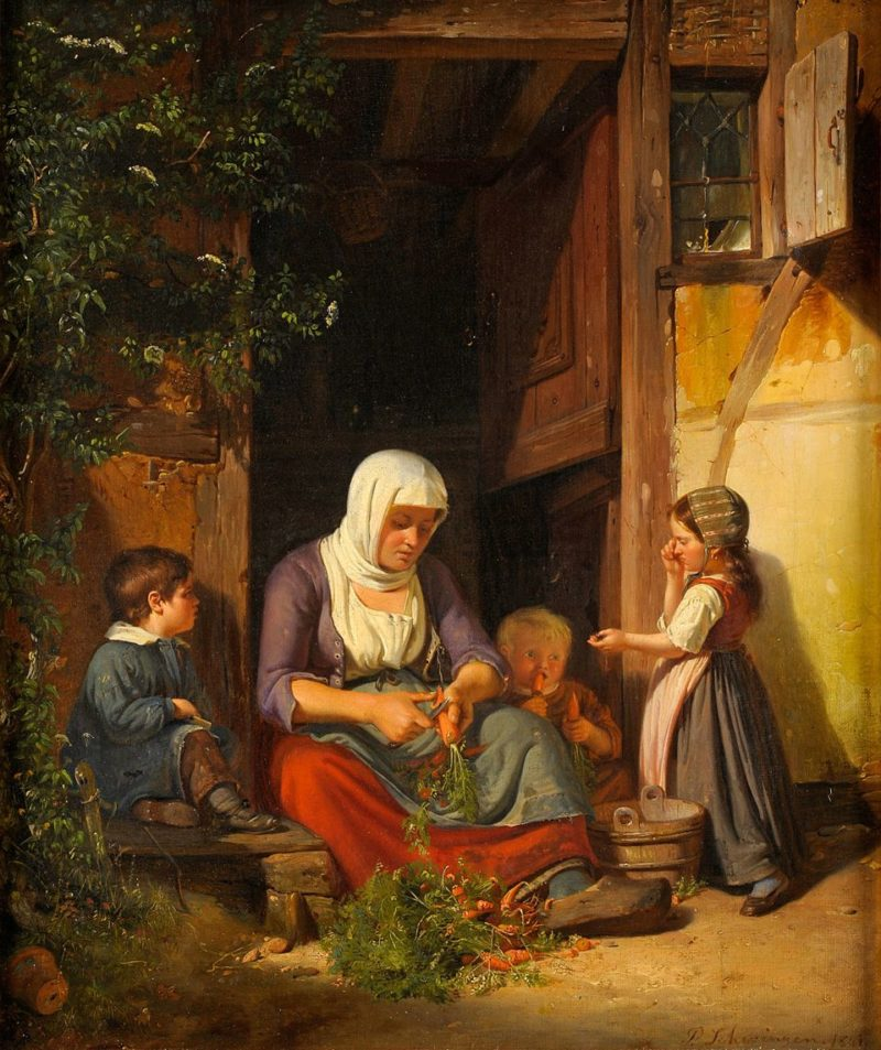 Peter Schwingen . Mutter mit ihren Kindern . Öl /Leinwand . 44 x 37 cm