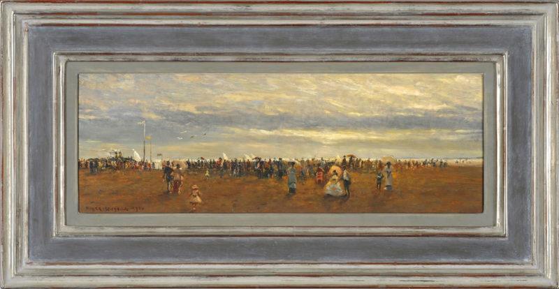 Rolf Dieter Meyer-Wiegand . Strandvergnügen . 1960 . Öl /Holz . 19 x 50 cm