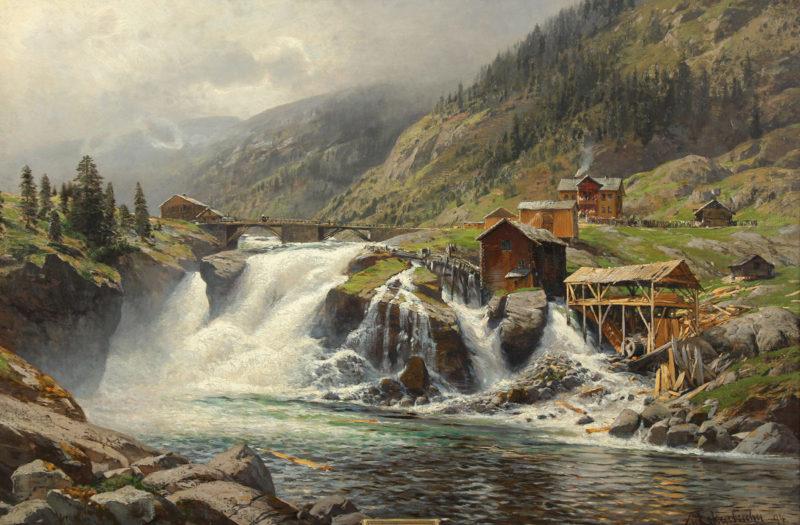 Themistokles von Eckenbrecher . Fjordlandschaft in Norwegen . 1894 . Öl /Leinwand . 77 x 104 cm