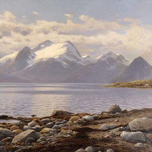 Themistokles von Eckenbrecher . Fjordlandschaft in Norwegen . 1914 . Öl /Leinwand . 102 x 150 cm