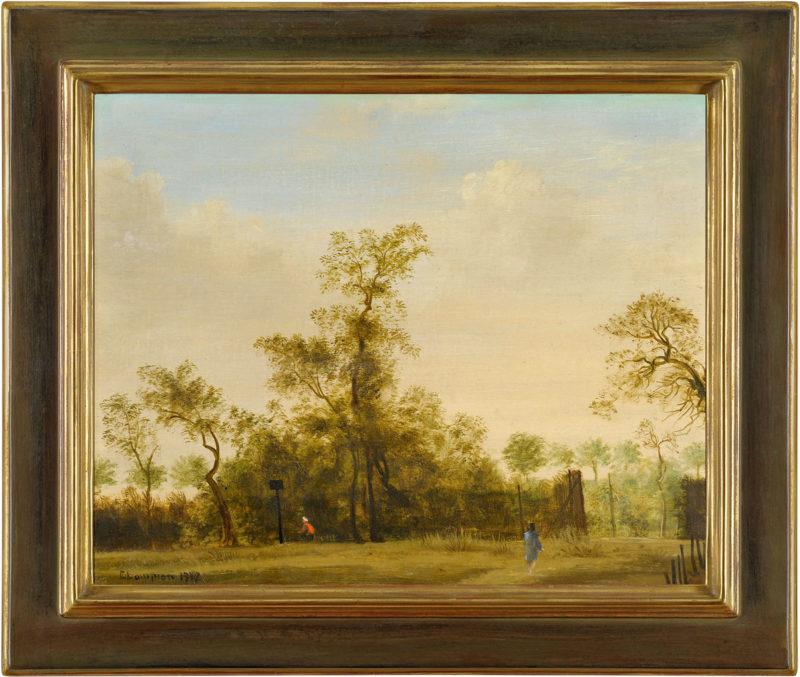 Theo Champion . Am Rheindamm bei Kasierswerth . 1942 . Öl /Holz . 40 x 50 cm