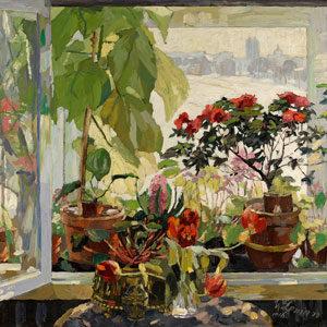 Ulrich Leman . Blick aus dem Fenster des Uphagenhauses auf das spätwinterliche Danzig . 1916 . Öl /Leinwand . 110 x 133 cm