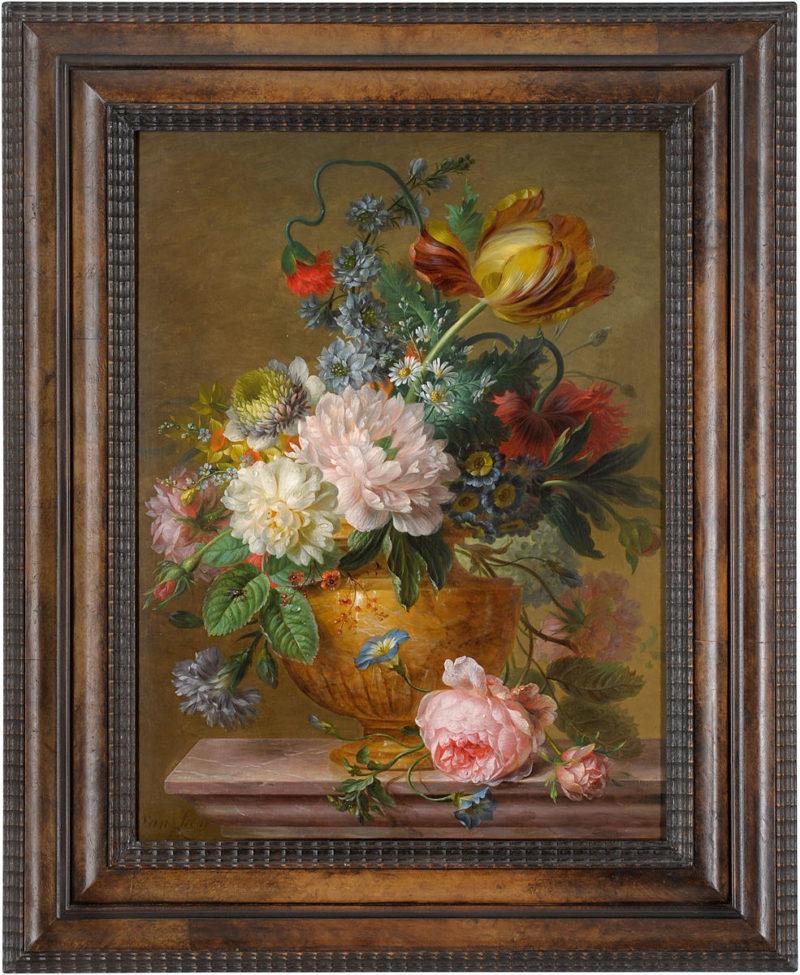 Willem van Leen . Blumenstillleben . Öl /Holz . 49 x 37 cm
