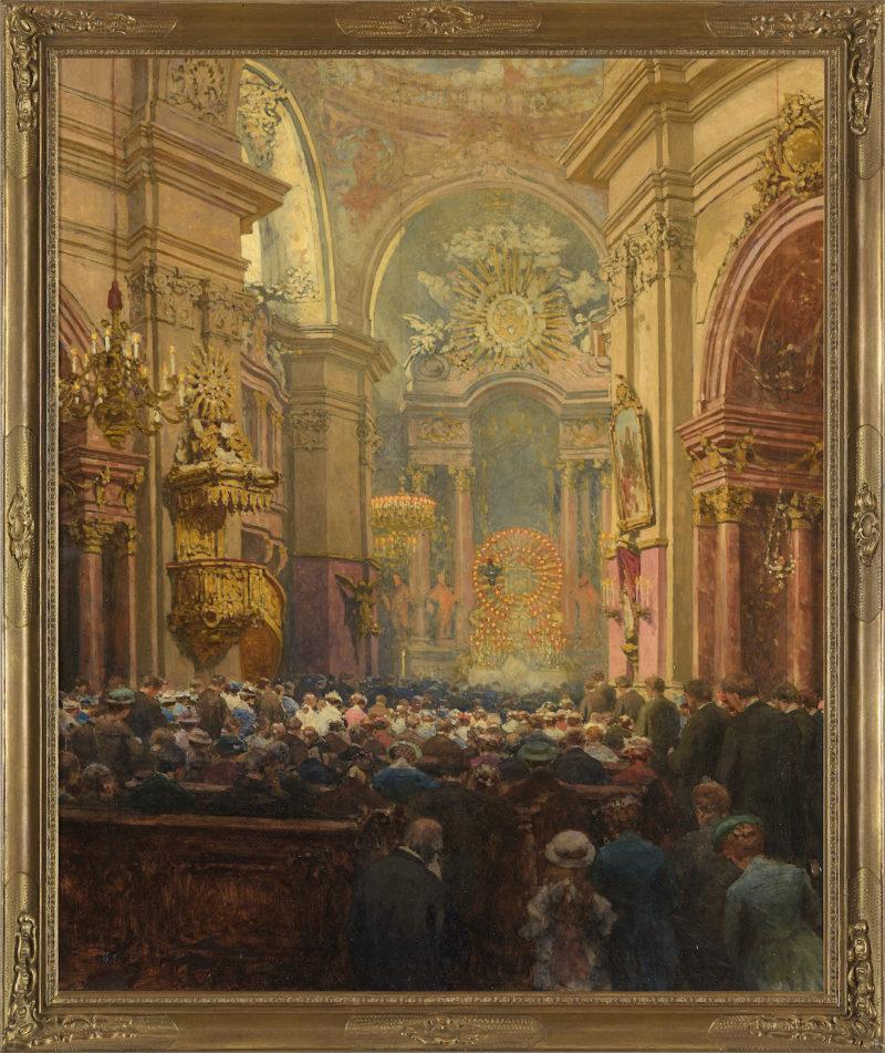 Tomec Jindrich. Innenansicht der Piaristenkirche in Wien. Öl / Leinwand. 120 x 100cm