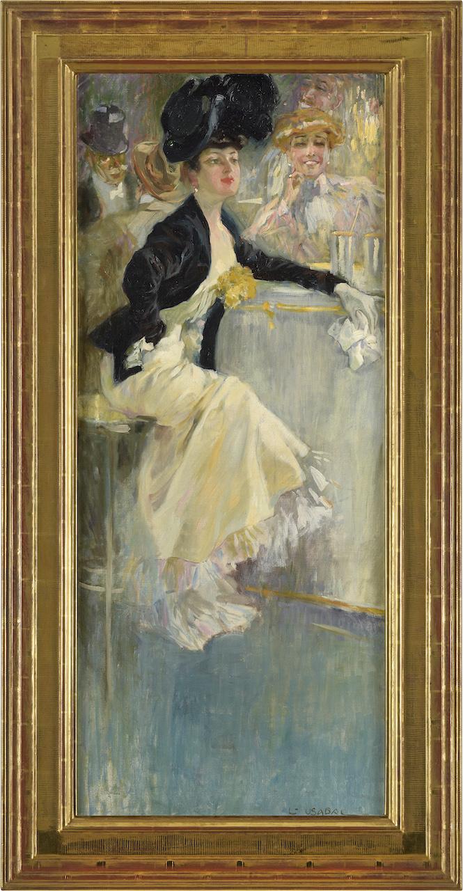 Luis Felipe Usabal y Hernándes. Dame der Belle Epoque. Öl / Leinwand. 118 x 50cm