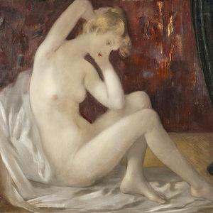 Carel Pál Molnár. Weiblicher Akt im Boudoir. Öl / Leinwand. 80 x 100cm