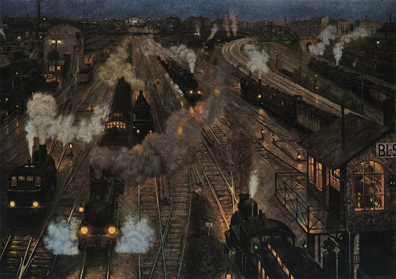 Hans Baluschek. Großstadtbahnhof. 1904. Öl / Leinwand. zerstört