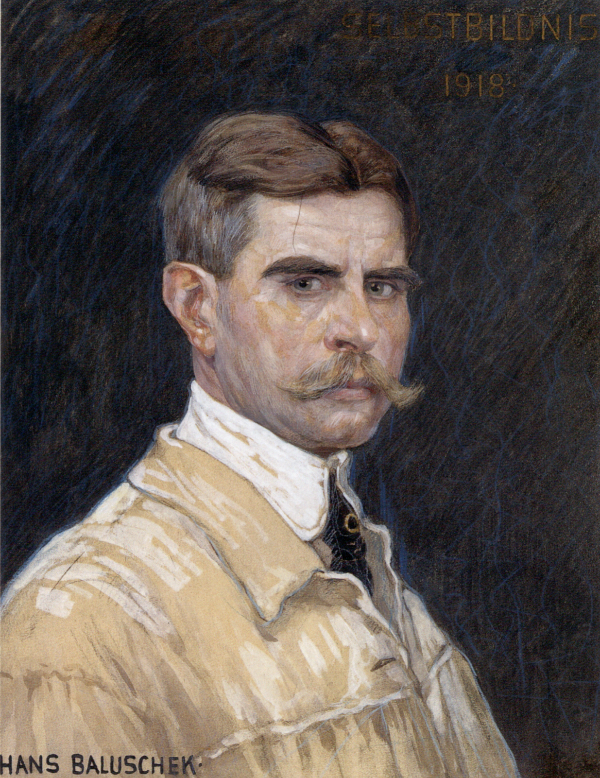 Hans Baluschek. Selbstportrait. 1918. Aquarell und Kreide / Pappe. 61 x 47cm