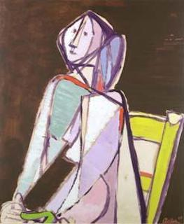Jankel Adler. The seated Figure. 1947. Öl / Platte