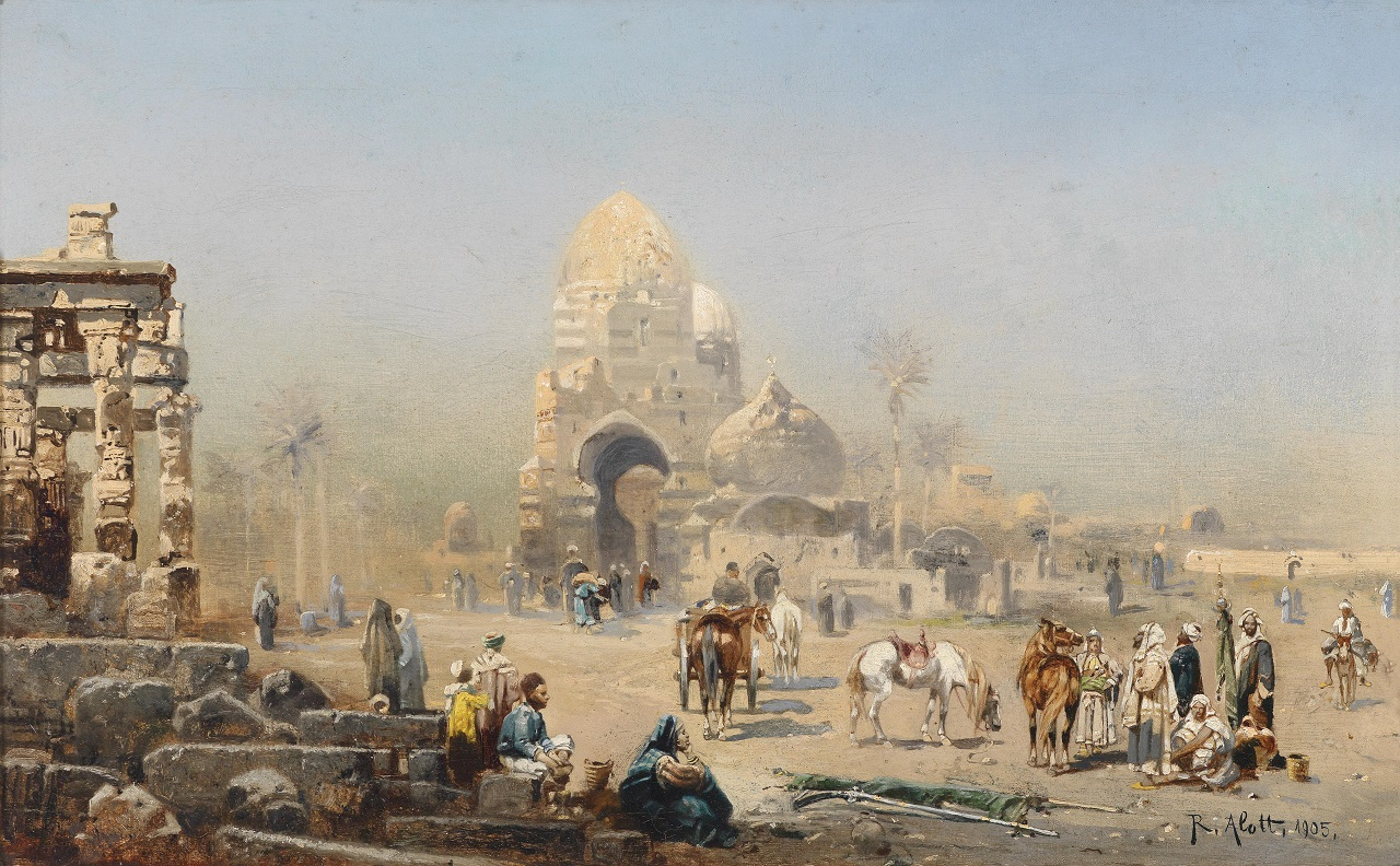 Robert Alott. Orientalische Straßenszene. 1905. Öl / Leinwand. 43 x 68cm