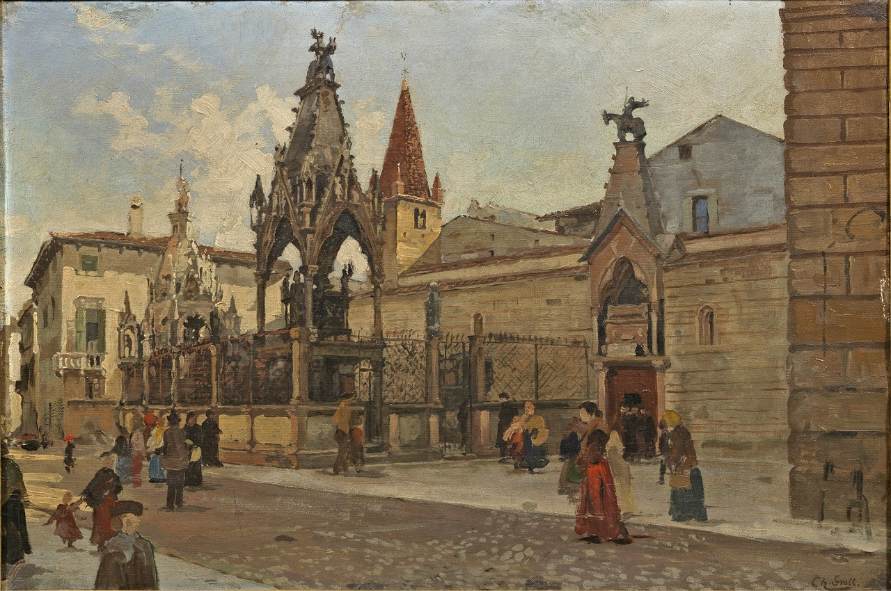 Theodor Groll. Ansicht von Verona mit Blick auf die Scaliger-Grabmäler. vor 1913. Öl / Leinwand. 39 x 57cm