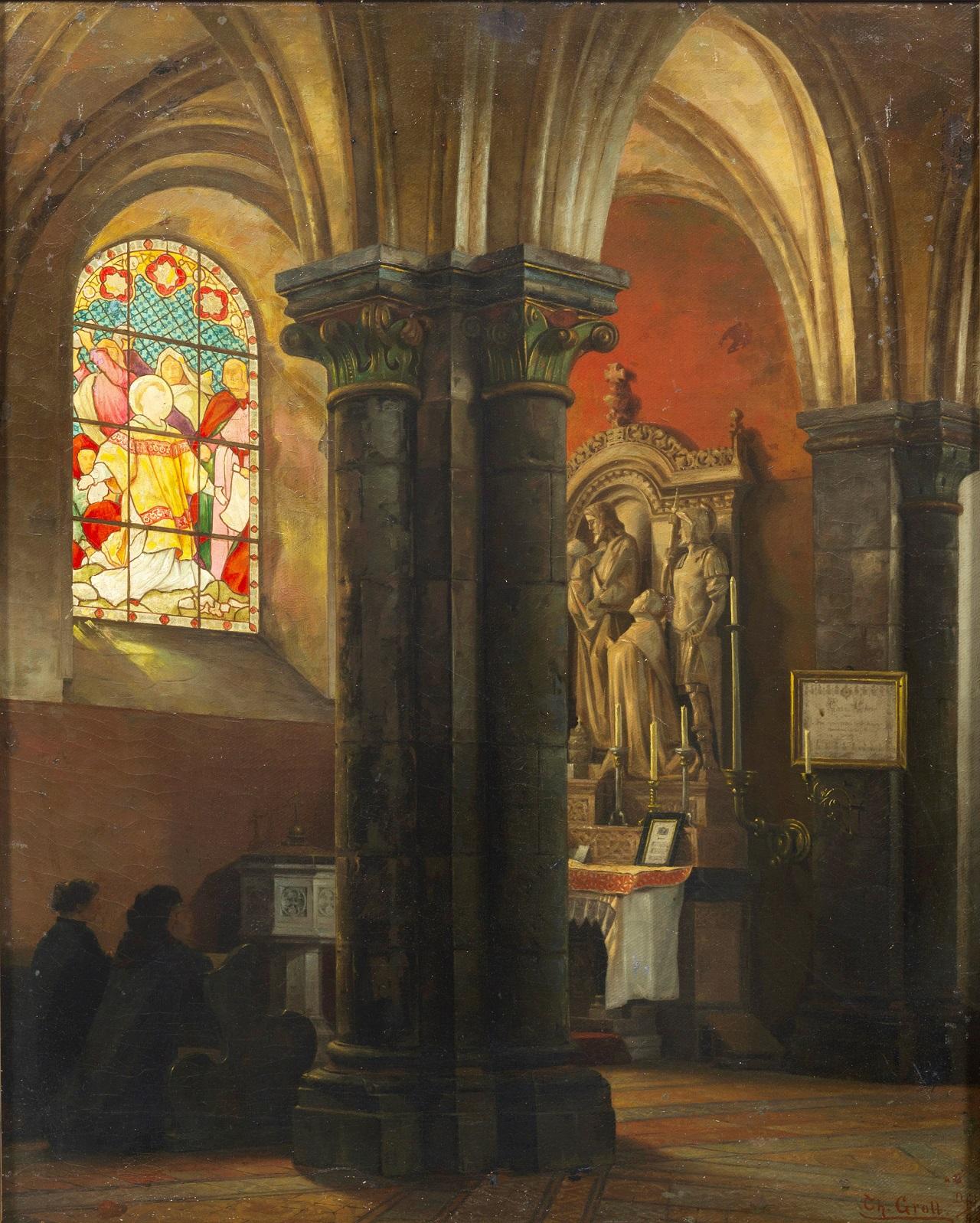 Theodor Groll. Kircheninneres. 1889. Öl / Leinwand. 58 x 48cm