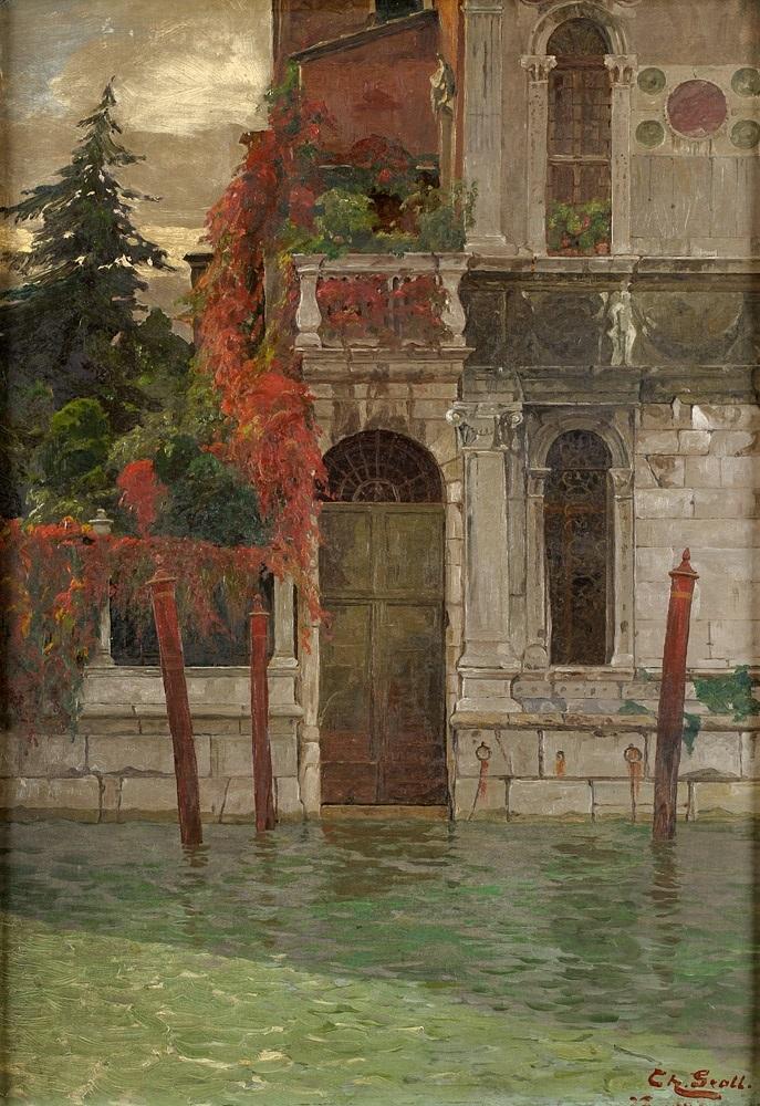 Theodor Groll. Venezianischer Palazzo. vor 1913. Öl / Karton. 65 x 46cm