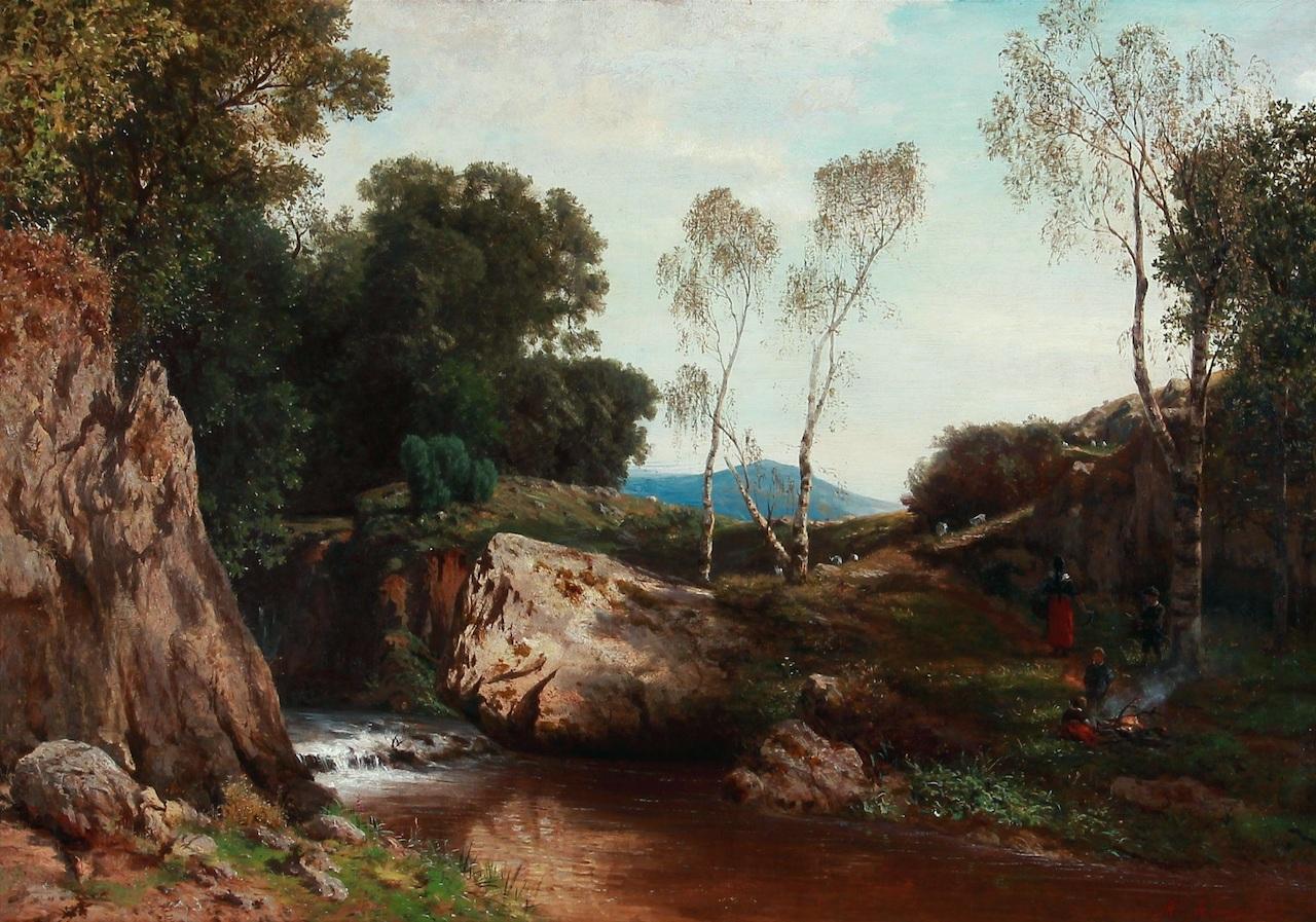 Albert Arnz. Kinder an einem Gebirgsbach. Öl / Leinwand. 66 x 92cm