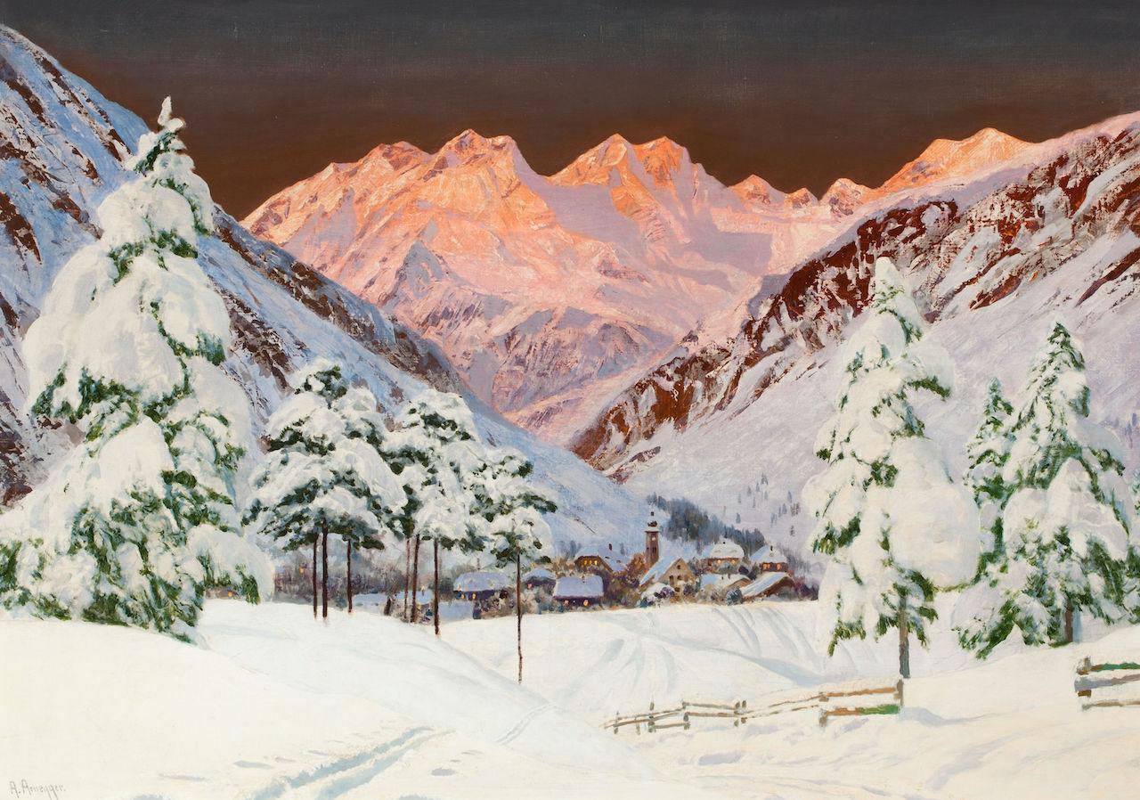 Alois Arnegger. Alpine Gebirgslandschaft. o.D. Öl / Leinwand. 71 x 99cm