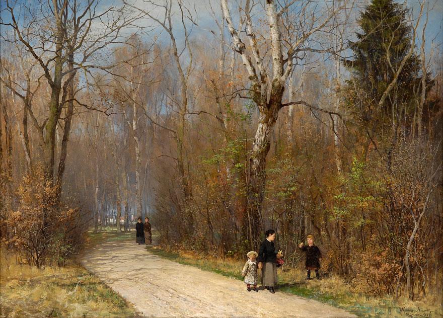 Anders Andersen-Lundby. Herbstspaziergang im englischen Garten. 1887. Öl / Leinwand. 77 x 106cm