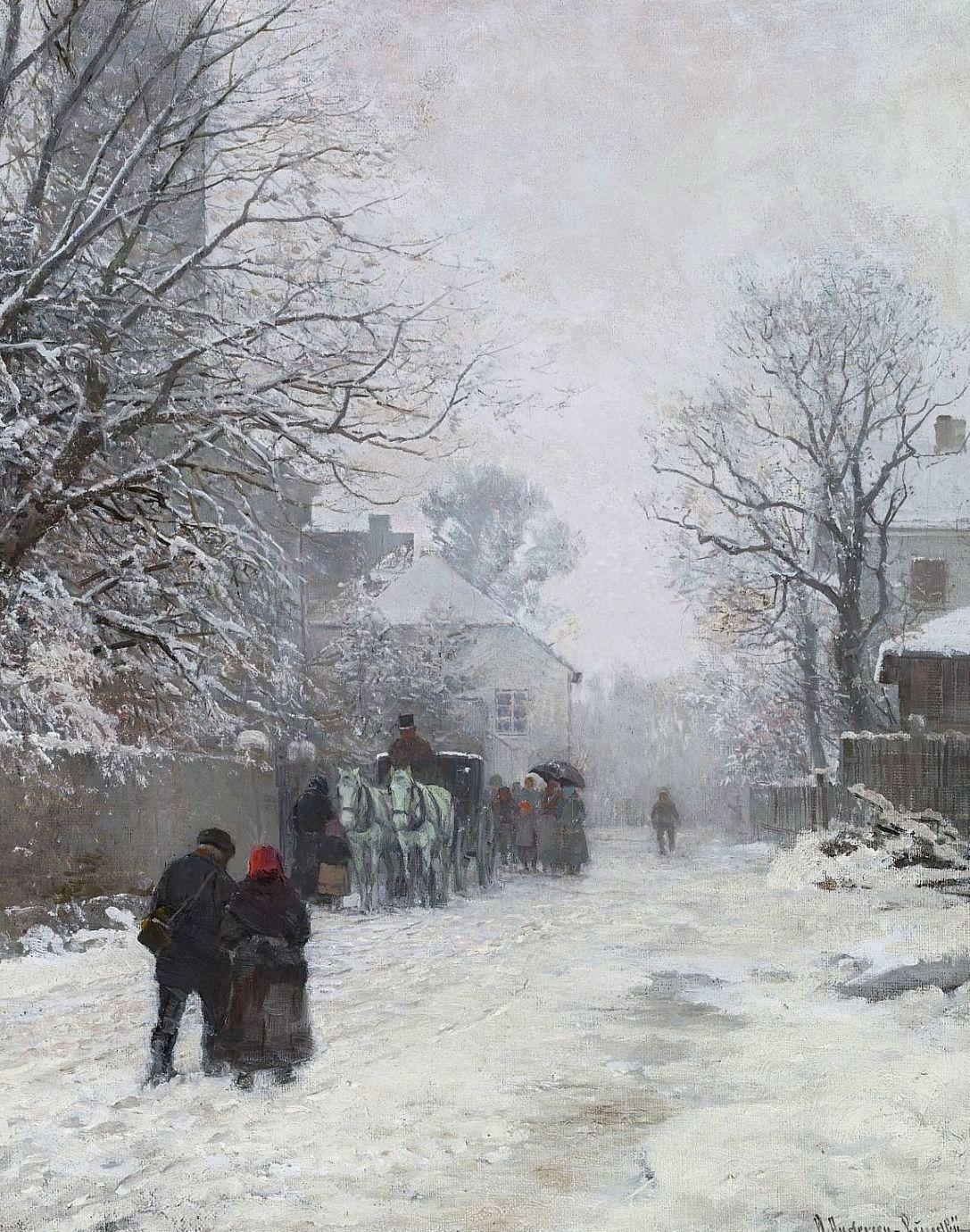 Anders Andersen-Lundby. Vorstadtstraße im Winter. vor 1923. Öl / Leinwand