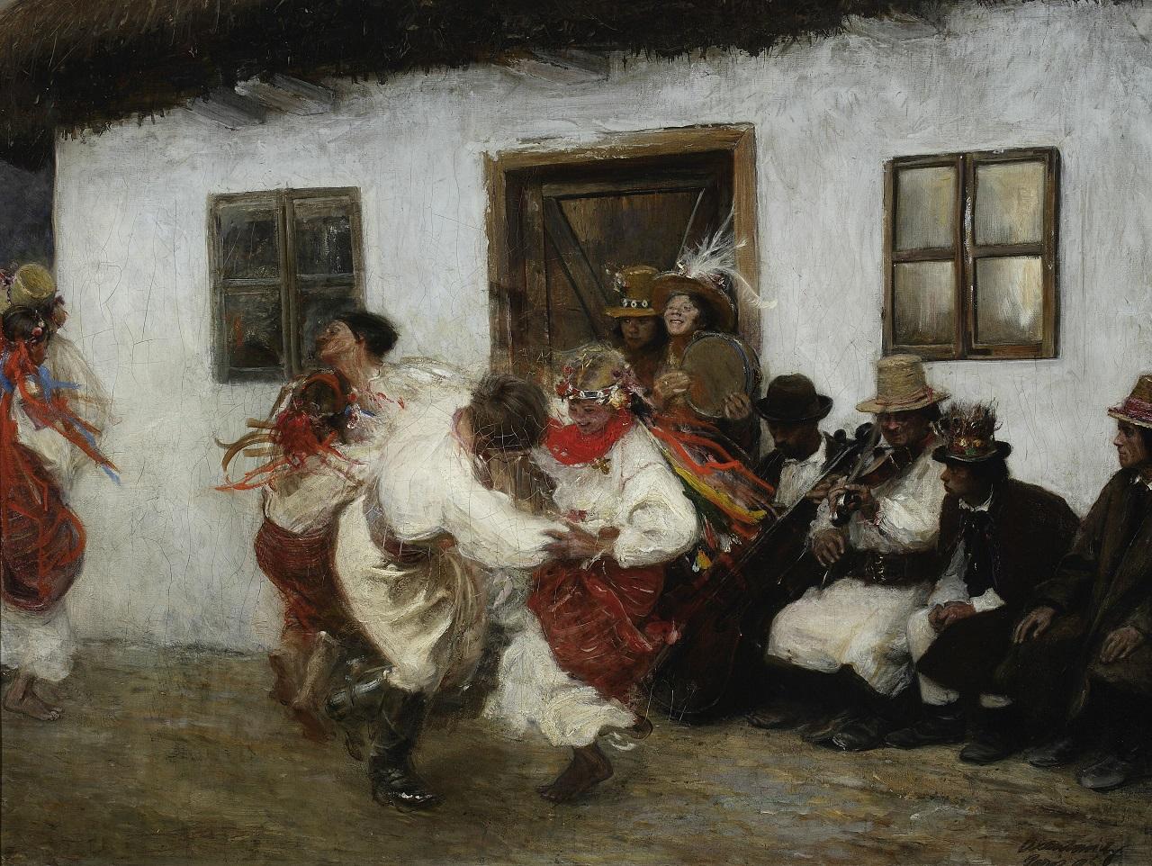 Theodor Axentowicz. Ukrainischer Volkstanz. 1895. Öl / Leinwand. 85 x 112cm